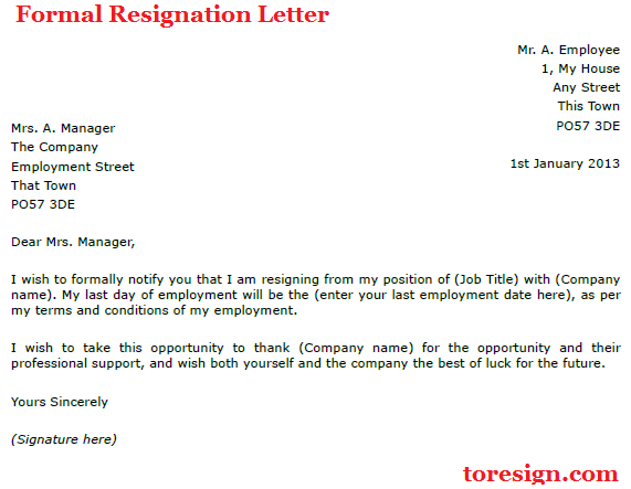 Formal Resignation Letter Example toresign – Formal Resignation Letters