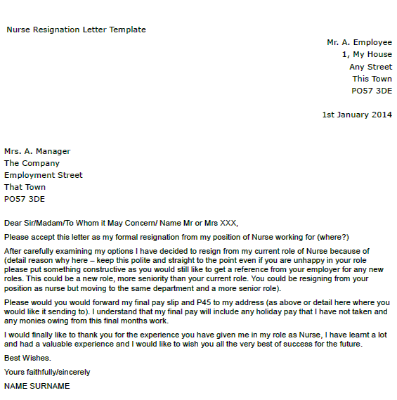 Nurse Resignation Letter Example - toresign.com