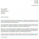 Maternity Leave Resignation Letter Example