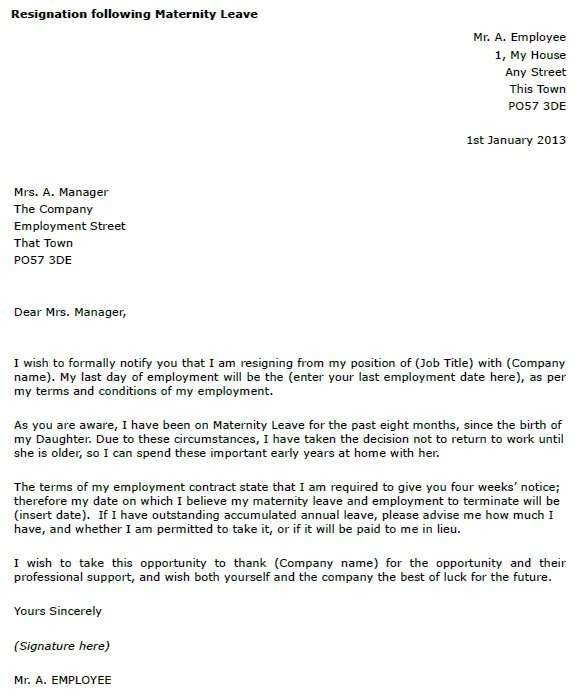 Maternity Leave Resignation Letter Example - toresign com