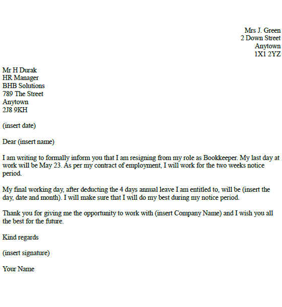 bookkeeper resignation letter example