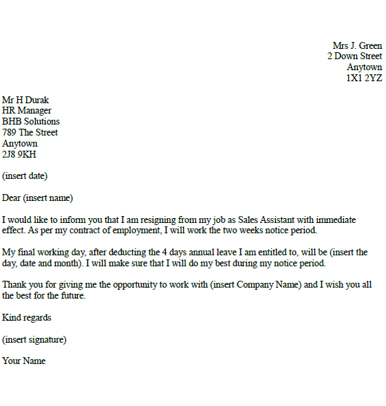 sales assistant resignation letter