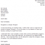 Beauty Therapist Resignation Letter Example