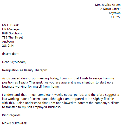 beauty therapist resignation letter