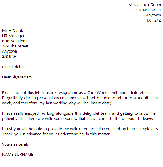 Care Worker Resignation Letter Example toresign – Immediate Letter of Resignation