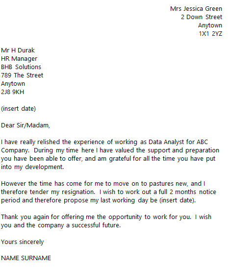 Data Analyst Resignation Letter Example
