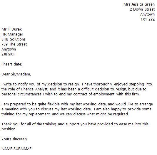 financial analyst resignation letter