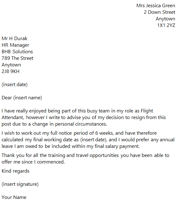 flight attendant resignation letter example