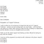 IT Support Technician Resignation Letter Example