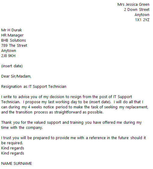 it support technician resignation letter