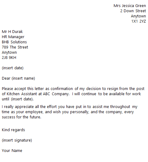 Resignation Letter For Customer Assistant Images