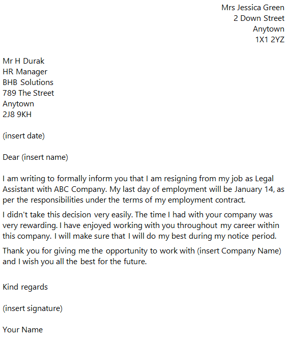 Legal Assistant Resignation Letter Example toresign – Secretary Resignation Letter