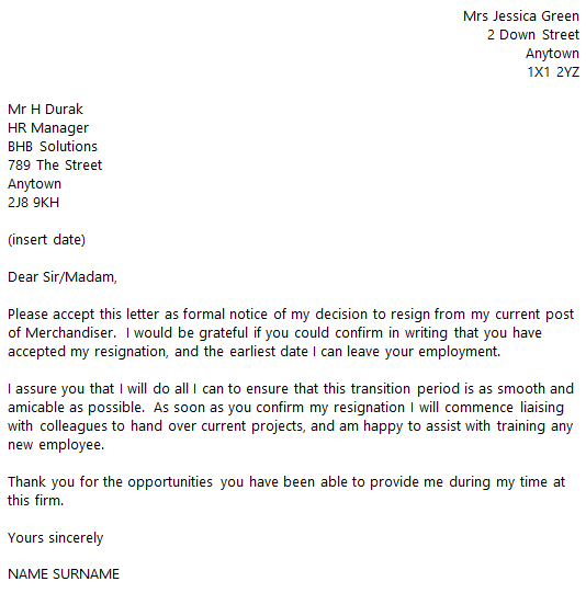 merchandiser resignation letter example