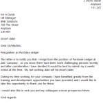 Purchase Ledger Resignation Letter Example