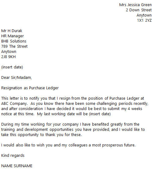 purchase ledger resignation letter