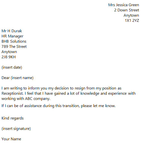 Receptionist Resignation Letter Example toresign – Resignation Letter from a Position