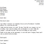 Recruitment Consultant Resignation Letter Example