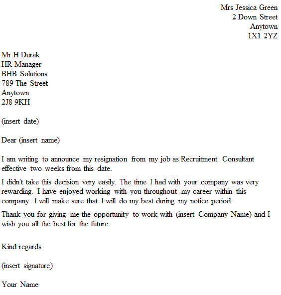 Recruitment Consultant Resignation Letter Example toresign – Resignation Letters No Notice