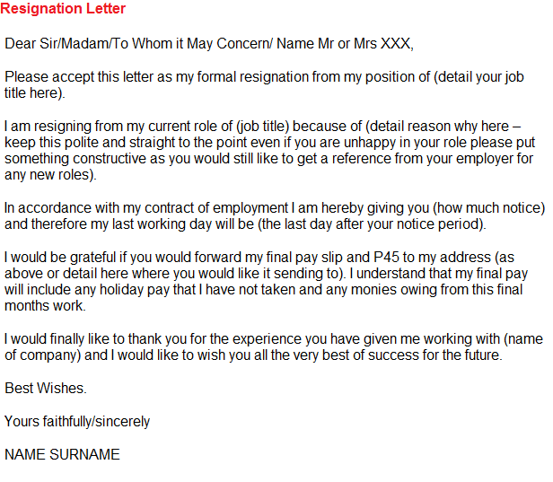 resignation letter example for asda