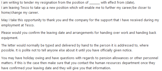 Resignation Letter Example for Tesco