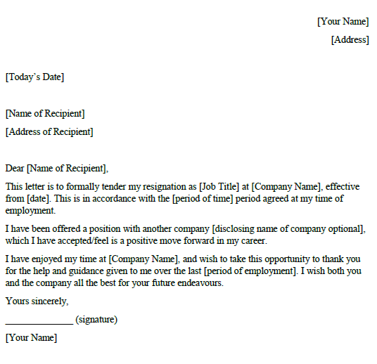New Job Resignation Letter Example