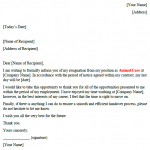 Animal Care Resignation Letter Example