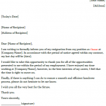 Resignation Letter Example for Cleaner