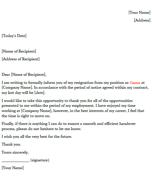 Resignation Letter Example for Cleaner - toresign.com