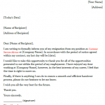 Customer Service Advisor Resignation Letter Example
