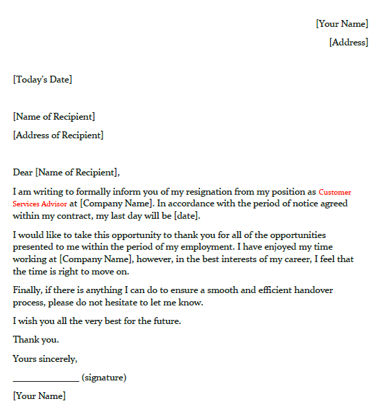 Sample Of Resignation Letter from toresign.com