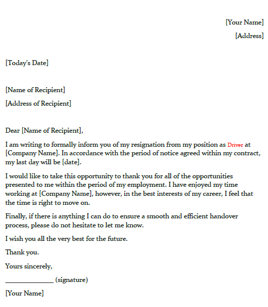 driver resignation letter example