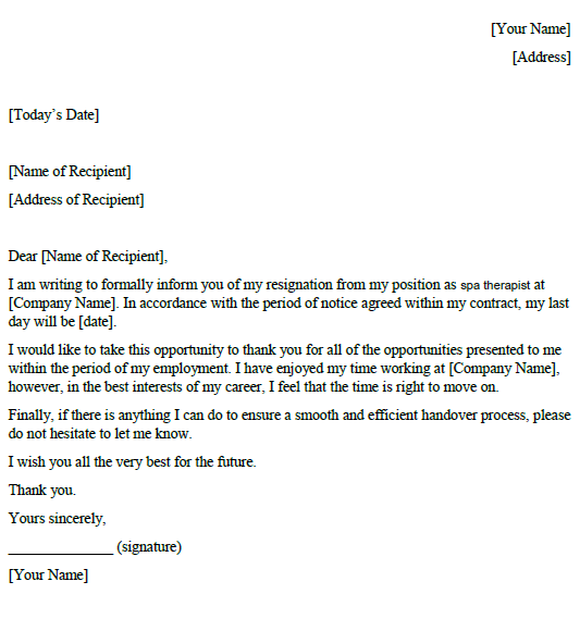 Spa Therapist Resignation Letter Example