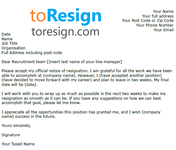 bar manager resignation letter
