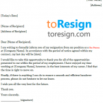 Bar Person Resignation Letter Example