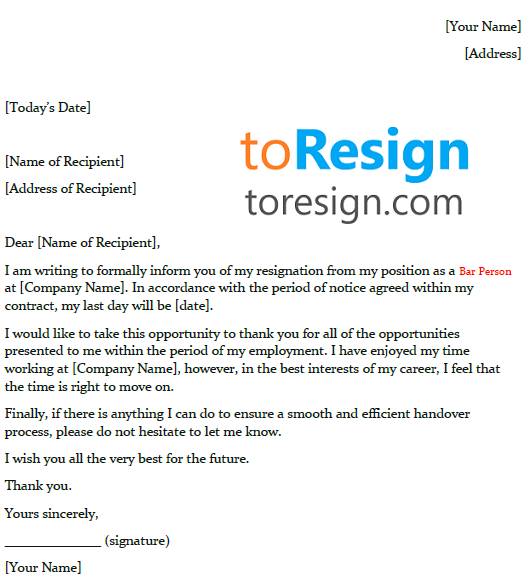 bar person resignation letter