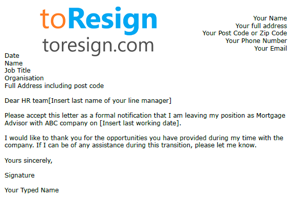 Mortgage Adviser Resignation Letter Example