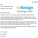 Short Notice Resignation Letter Example
