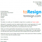 team leader resignation letter
